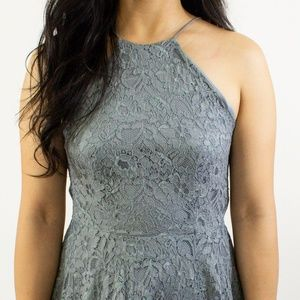 Urban Outfitter Gray Embroidered/Lace Halter Dress